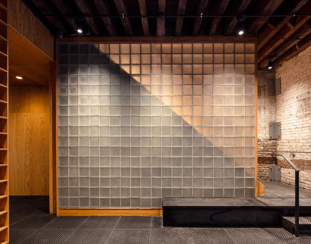 Glass Block Wall - 77 Washington Workspace