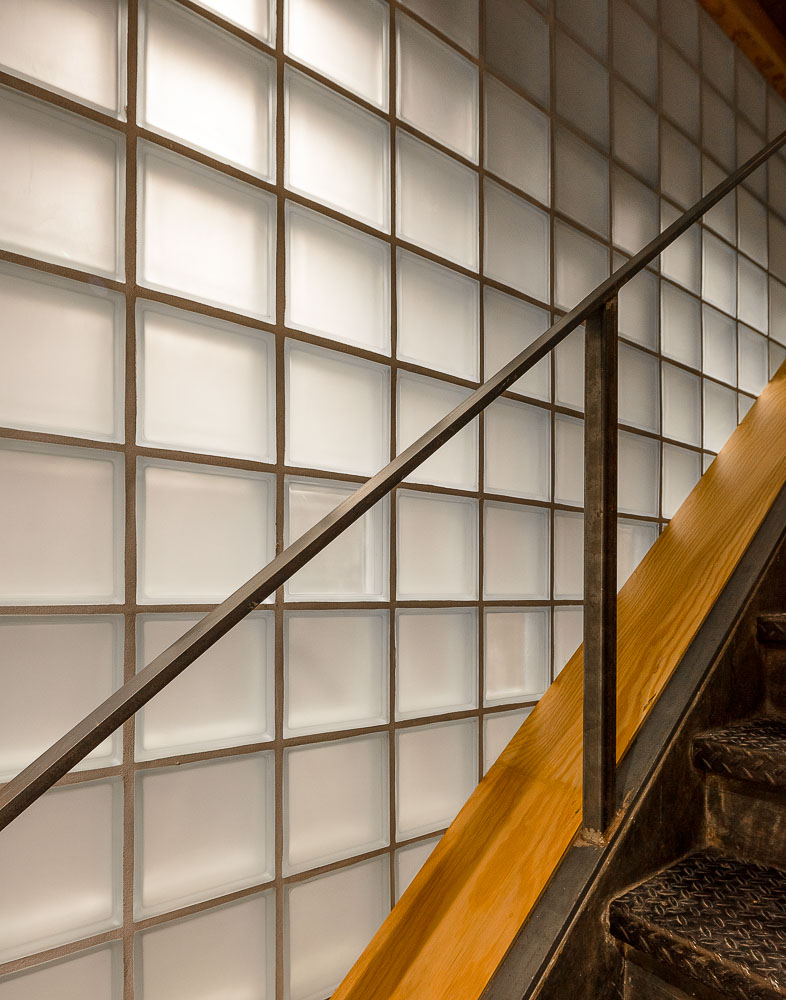 Glass Block wall and stairs - 77 Washington Workspace