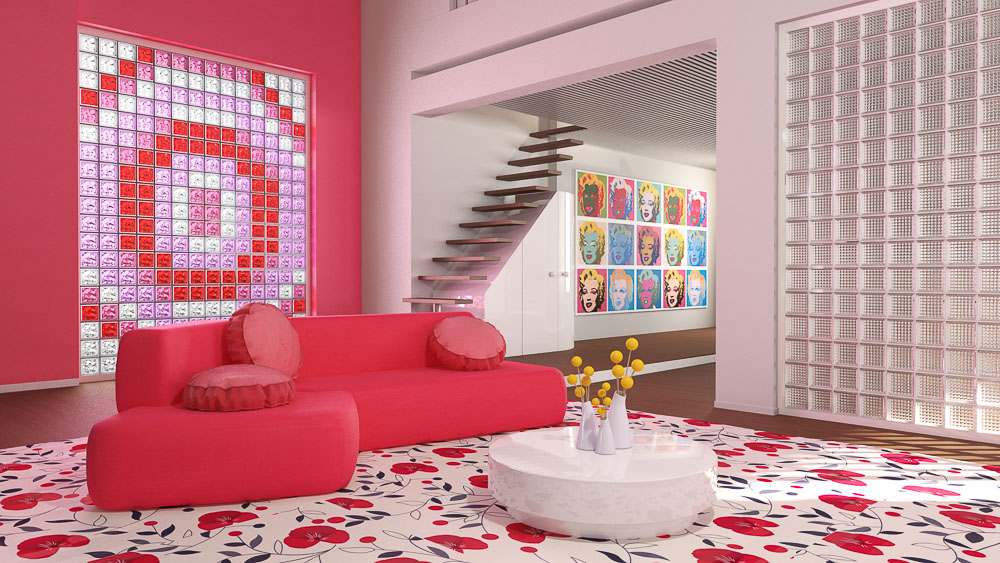 Pink Room Glass Block