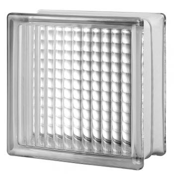 "4 premiere Series Cross Ribbed clear glass blocks (8""x8""x4"""