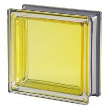 Mendini Citrino Glass Block Yellow Citrus 19x19x8